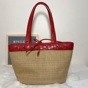 Cole Haan Straw Tote w Red Leather Trim